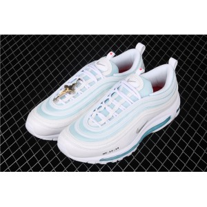 Men's & Women's Mschf x Inri Air Max 97 Jesus Shoes white geyser blue